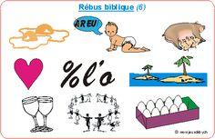 Jeu : rébus bibliques sur le thème des béatitudes Image Jesus, Les Themes, Sunday School, Religion, Parents, Comics, The Beatitudes, Children, Bricolage