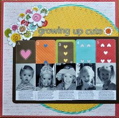 growing up cute - Scrapbook.com - Love the photos coordinating with the card numbers. #scrapbooking #layouts #bazzillbasics #sassafraslass