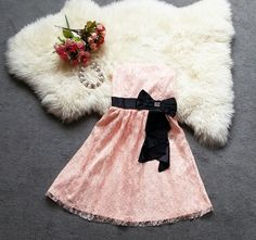 Lovely Pink Lace Party Dresses, Prom Dresses, Lace Dresses with Bowknot, Dresses, Summer Dresses