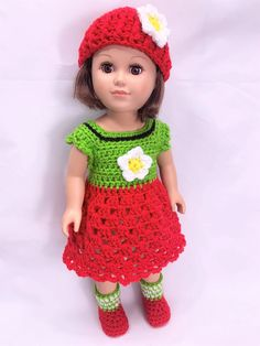 Summertime Sweetie Crochet Pattern - Adoring Doll Clothes Crochet Doll Dress, Crochet Doll Clothes, Girl Doll Clothes, Doll Clothes Patterns, Girl Dolls, Doll Patterns, Baby Dolls, Halloween Costume Crochet, Diy Crochet And Knitting