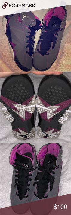 a094c6b995ea55 Shop Women s Jordan size Athletic Shoes at a discounted price at Poshmark.  which is equivalent to in women s. Dark gray pink and white.