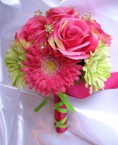 Bridal bouquet FUCHSIA GREEN DAISY wedding by Rosesanddreams