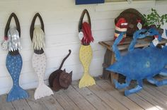 Some coastal art ideas for under the tree!  Mermaid Sculptures: $325 Crab sculpture: $525 Fish: $185  All available for the holidays at www.ironfishart.com