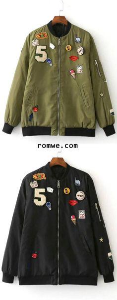 Army Green Crew Neck Applique Pocket Jacket