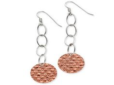 Italian Two-tone Pink Rose Gold Over Sterling Silver Circle Drop Earrings (Available online at Gemologica.com)