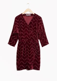 & Other Stories image 1 of Graphic Devoré Velvet Wrap Dress in Burgundy