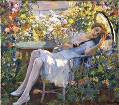 Edward Cucuel (American artist, 1879-1954) Young girl with Parasol