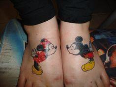 Mickey and Minnie tattoo, cute idea! Too bad my feet are done already lol