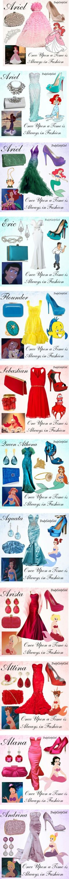 """Disney Style: The Little Mermaid"" by trulygirlygirl. My favorite is the Queen Athena outfit. Disney Outfits, Disney Inspired Outfits, Themed Outfits, Disney Dresses, Disney Style, Cute Outfits, Prom Dresses, Disney Clothes, Fashion Fantasy"