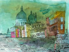 Christopher Tate Art - Venice Gallery | Christopher Tate Art | Cornish Artist Collage Art Mixed Media, London Art, Urban Sketching, Urban Landscape, Art Projects, Project Ideas, Architecture Art, Painting & Drawing, Sketches