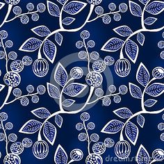 (C) Celia Ascenso - Leaves and berries in branches background. Seamless tile.