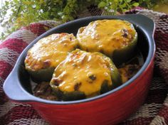 Cheesy Stuffed Bell Peppers from Food.com:   								There are so many casseroles with bell peppers in it, this has the ingredients IN the bell pepper. A great light dinner, or an appetizer.