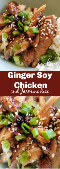 Ginger Soy Chicken over Jasmine Rice – Moore or Less Cooking AD Dinner for the family is fast, simple and delicious with Ginger Soy Chicken over Minute Instant Jasmine Rice. It will have you all together in no time! Soy Chicken, Ginger Chicken, Yum Yum Chicken, How To Cook Chicken, Chicken Over Rice, Asian Chicken, Baked Chicken, Healthy Chicken Recipes, Asian Recipes