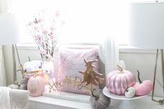 Decorate for fall with blush pink, white and gold accents! home décor; how to decorate for fall. Fall Floral Arrangements, Velvet Pumpkins, Fall Season, Gold Accents, Office Decor, Blush Pink, Pink White, Fall Decor, Color Schemes