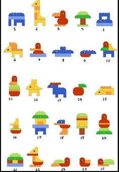 Beautiful ideas for Duplo Duplo Lego creative dyslexia dyslexia training dyscalculia dyscalculia training AFS method learning fine motor skills Legos, Toddler Activities, Activities For Kids, Stem Activities, Lego Duplo Animals, Instructions Lego, Lego Therapy, Lego Club, Lego Craft