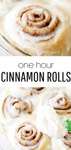 These one hour cinnamon rolls are super soft, delicious and slathered with an amazing melt-in-your-mouth frosting. Just as yummy as the classic cinnamon roll recipe, but done in half the time! #cinnamon #cinnamonrolls #baking #homemade #rolls #bread #breadbaking #homemadebread #breakfast #breakfastrecipes #recipes #iheartnaptime Food Cakes, Cake Recipes, Dessert Recipes, Dinner Recipes, Frosting Recipes, Bake Off Recipes, Icing Recipe, Drink Recipes, Breakfast And Brunch
