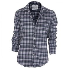 """Frank Eileen """"Barry"""" Limited Edition Plaid Shirt (Purple/Blue/White) ($198) ❤ liked on Polyvore featuring tops, shirts, blusas, blouses, camisas, blue shirt, plaid top, plaid shirts, tartan top and blue plaid shirt"""