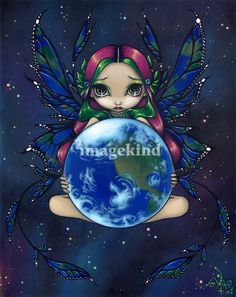 """""""A World in Good Hands"""" by Jasmine Becket-Griffith, Celebration, Florida // An earth fairy!  Kinda - this is a painting I did showing my love for faeries and for our planet Earth and its environment.  My own original acrylic painting. // Imagekind.com -- Buy stunning, museum-quality fine art prints, framed prints, and canvas prints directly from independent working artists and photographers."""