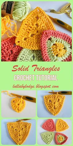 Make these solid triangles, use them for blanket motifs, bunting and more. Crochet Bunting Pattern, Crochet Garland, Crochet Motif Patterns, Granny Square Crochet Pattern, Crochet Patterns For Beginners, Crochet Squares, Crochet Granny, Crochet Stitches, Knitting Patterns