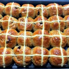 Hot Cross Buns are a lovely soft, spiced sweet roll, and traditionally made at Easter time, simply spilt apart and spread with butter and jam. They're lovely eaten warm from the oven or split and toasted. Nowadays, these are enjoyed all year round! Very easy to make and freezer friendly.