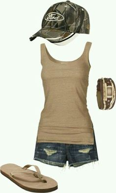Make the Ford hat Chevy or Toyota and this outfit is perfection for summertime!!