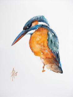 Andrzej Rabiega Common Kingfisher, Watercolor Paper, Pet Birds, Horses, Watercolors, Artwork, Animals, Image, Style