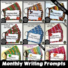 Cover your writing centers for the entire school year with these monthly writing prompt task cards!