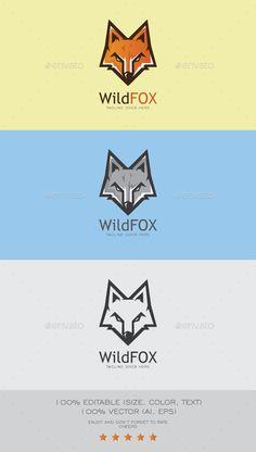 Wild Fox Mascot Logo Design Template Vector #logotype Download it here: http://graphicriver.net/item/wild-fox-logo-mascot/9091979?s_rank=220?ref=nexion