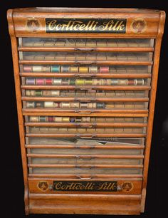 Buy online, view images and see past prices for Corticelli Silk Spool Cabinet. Invaluable is the world's largest marketplace for art, antiques, and collectibles. Thread Spools, Needle And Thread, Silk Thread, Sewing Box, Sewing Tools, Vintage Sideboard, Vintage Furniture, Haberdashery Shop, Yarn Storage