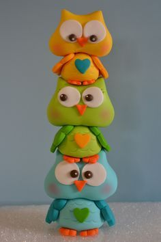 gumpaste owl cake topper - I made this to go on top of a owl baby shower themed cake