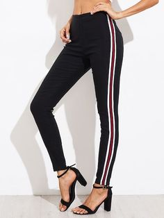 SHEIN offers Side Striped Skinny Pants   more to fit your fashionable needs. a9ac63b54eda