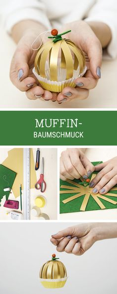 #diyideen für Weihnachten: Baumschmuck in Form von Muffins selber machen / #christmasdiy how to craft ornaments in shape of cupcakes via DaWanda.com