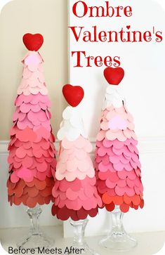 DIY Ombre Valentine's Day Trees