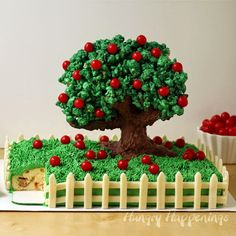 Apple Cinnamon Pound Cake topped with a Chocolate Apple Tree | HungryHappenings.com