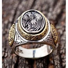 Biker Rings : Sterling Silver Rings for Men Cool Rings For Men, Unique Mens Rings, Rings Cool, Simple Rings, Men Rings, Gothic Engagement Ring, Buying An Engagement Ring, Gothic Rings, Sterling Silver Mens Rings