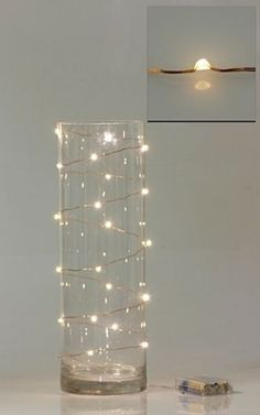 #Fairylights even look pretty on the outside of a vase. Wired Fairy Lights | DIY Wedding Company                                                                                                                                                      More