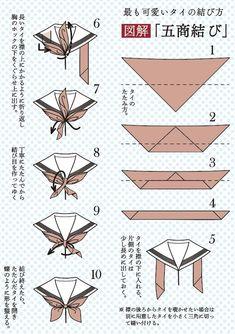 """江津匡士さんのツイート: """"そしてこれが「五商結び」の詳細。タイを綺麗に畳むこと、襟の上にかかるように折り返すのがポイント。蝶のように仕上げます。…"""