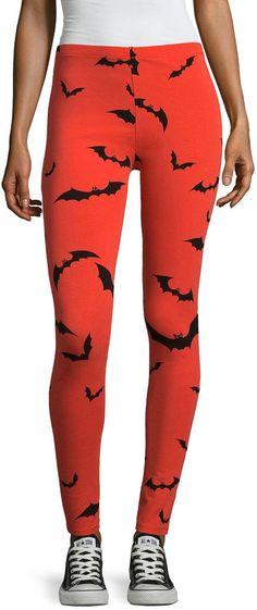 HALLOWEEN GOTHIC BATS NEON PINK BLACK BAT LEGGINGS  HALLOWEEN FANCY DRESS