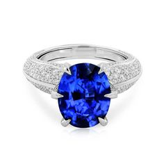 Kat Florence 7.30 carat Ceylon sapphire engagement ring set in white gold with diamond pavé band. An intense strong blue hue. For the classic bride with a modern twist. http://www.thejewelleryeditor.com/shop/product/kat-florence-ceylon-sapphire-engagement-ring/ #wedding