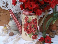 """Лейка """"Маки"""" - ярко-красный,лейка,лейка декупаж,лейка для цветов,лейка для полива цветов"""