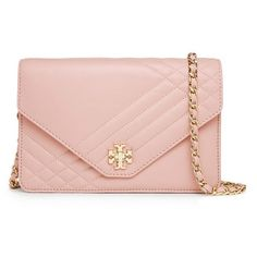 Tory Burch Kira Quilted Clutch ($450) ❤ liked on Polyvore featuring bags, handbags, clutches, purses, accessories, pink, pink quilted purse, stripe handbag, chain handle handbags and pink quilted handbag
