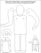 Printable pattern for blank man animated stick puppet