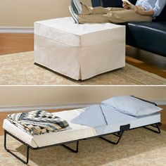 Folding Ottoman Bed Bedding Footrest Stool Seat Living Room Furniture White for sale online Sleeper Ottoman, Diy Ottoman, Beds For Small Spaces, Bed Plans, Floor Plans, Loft Spaces, Spare Room, Spare Bed, Apartment Living