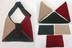 Con dei semplici quadri all'uncinetto o a maglia possiamo realizzare una bellissima borsa! Di un solo colore o come in foto con avanzi di lana o di cotone.