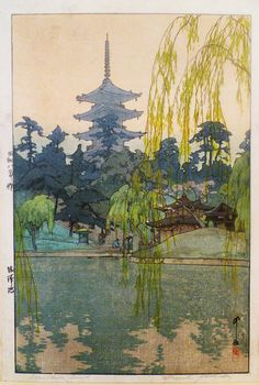 The Art of Hiroshi Yoshida Hiroshi Yoshida was a Japanese painter and woodblock printmaker. He is regarded as one of the greatest artists of the shin-hanga style, and is noted especially for his excellent landscape prints. Yoshida travelled w Art And Illustration, Botanical Illustration, Hiroshi Yoshida, Art Occidental, Art Chinois, Art Asiatique, Art Japonais, Japanese Painting, Chinese Painting