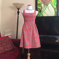 Free People sundress Gray and coral color flower print dress Free People Dresses