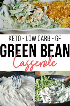 Creamy Keto Green Bean Casserole with fresh or frozen green beans, a creamy carb friendly sauce, and a low-carb lovers dream, crispy pork rind topping. #greenbean #casserole #Thankgivingrecipe #Holiday #sidedish #ketorecipe #glutenfree #lowcarb