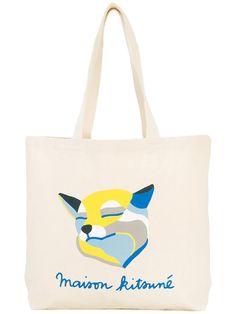 MAISON KITSUNÉ Printed Tote Bag. #maisonkitsuné #bags #hand bags #tote #cotton #