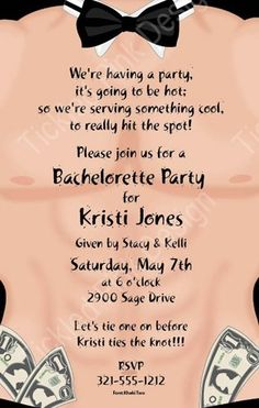 Stripper Guy Invitation---- cute for the bachelorette party