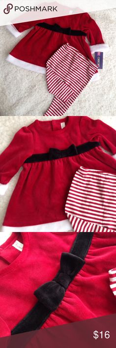 NWT Girls Santa Christmas Dress Leggings Set Brand new with tags! Size 3-6M. Cherokee Matching Sets